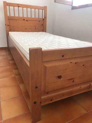 Cama individual más colchón