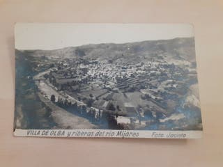 foto postal VILLA DE OLBA y riberas río Mijares