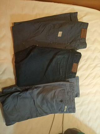 3 pantalones talla 38 pull&bear