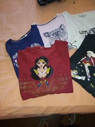 conjunto de camisetas niña talla 8_10 años.