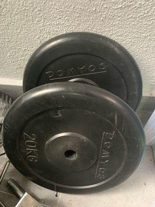 2 Discos de 20 kilos Domyos de goma