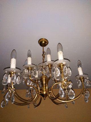 Lámpara bronce y cristal