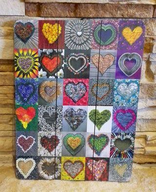 Cuadro decoración de corazones.