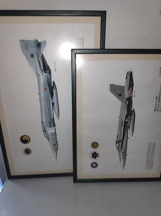 Láminas enmarcadas aviones cristal