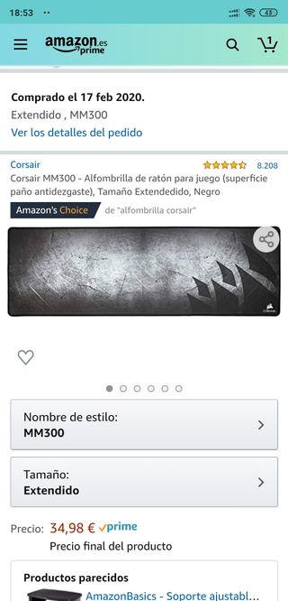 Alfombrilla Corsair XXL como nueva