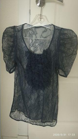 camisa transparente encaje