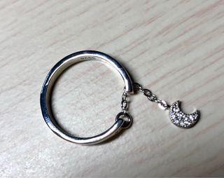 Anillo de plata 925 cadena con luna, ajustable