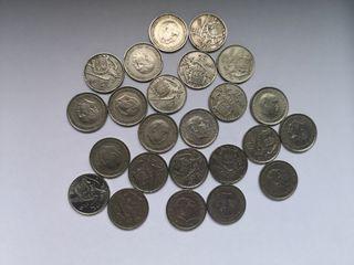 Monedas de 25 pesetas de 1957 (25 monedas)