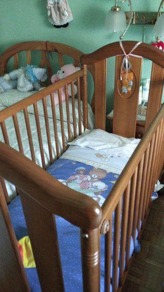 cuna bebé madera pino con colchon