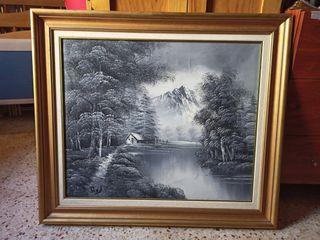 cuadro laguna gris pintado a mano