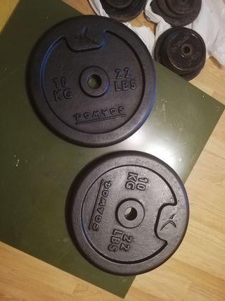 pesas discos barra Olímpica