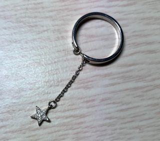 Anillo de plata 925 cadena con estrella, ajustable