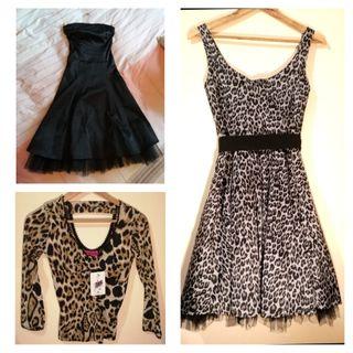 2 vestidos pin up + top leopardo