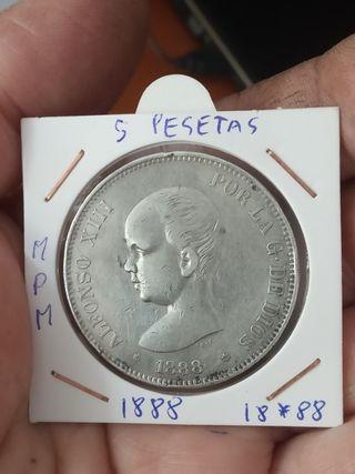 moneda 5 pesetas 1888 MPM