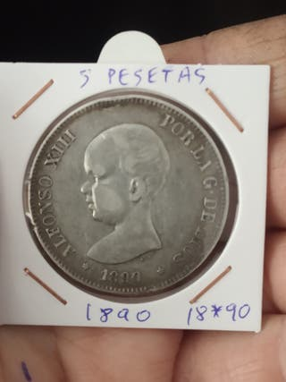 moneda 5 pesetas 1890