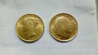 Lote de dos monedas de Oro soberanos