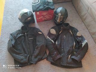 Conjunto chaquetas y cascos