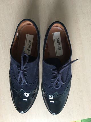 Zapatos ante/charol azul marino