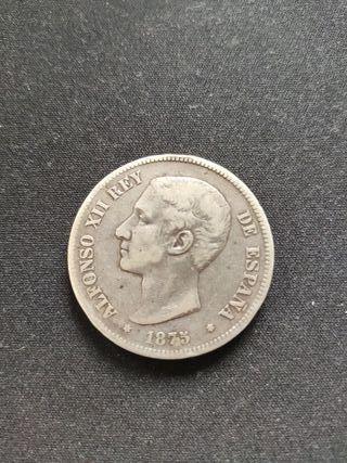 moneda antigua Plata 5 pesetas Alfonso XII 1875