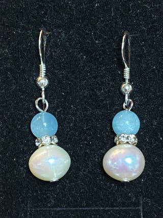 Pendientes de aguamarinas,perlas Akoya y plata ley