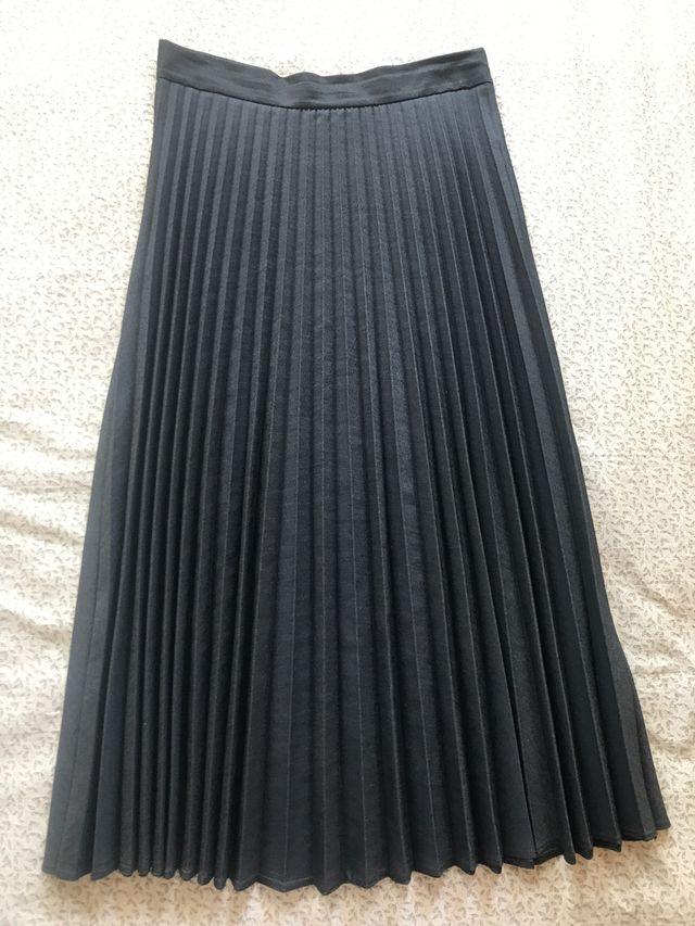 Falda midi vaquero oscuro