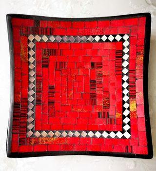 Bandeja mosaico roja