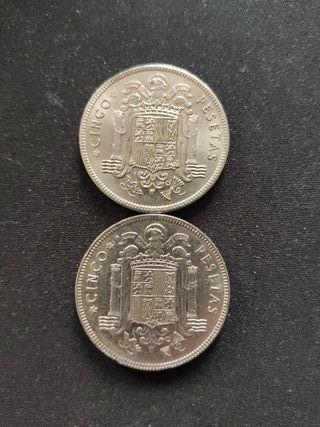 Lote monedas antiguas 5 pesetas Franco 1949 49 50