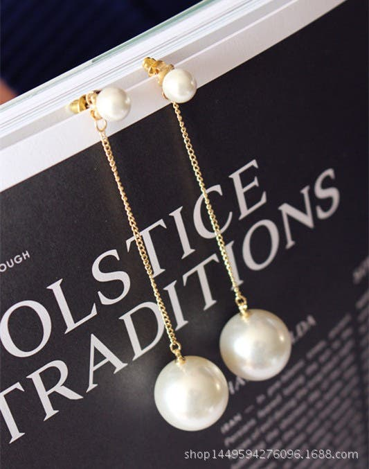 White colour faux pearl drop earring