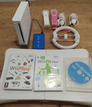 Nintendo wii con mandos + wii fit plus + 60 juegos