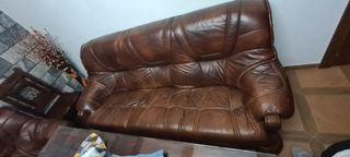 sofá 3 plazas y dos sillones de piel