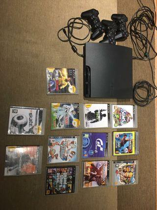 Play station 3 + mandos ps3 + juegos ps3