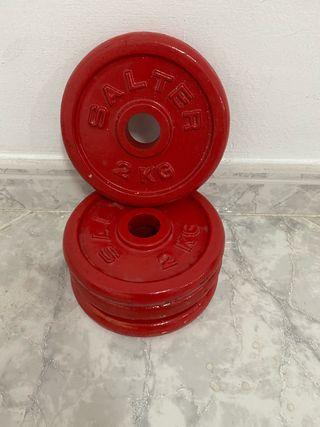4 pesas discos 2kg marca Salter gimnasio gym