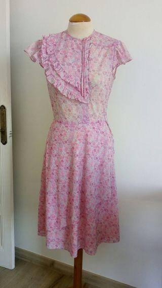 Vestido vintage rosa flores.