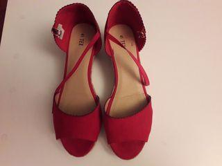 Sandalias de esparto rojas N° 41