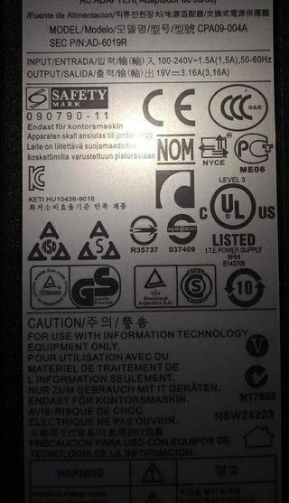 Samsung portátil laptop cargador 19v