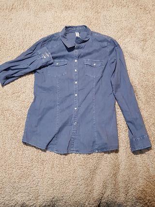 camisa de chica azul Springfield