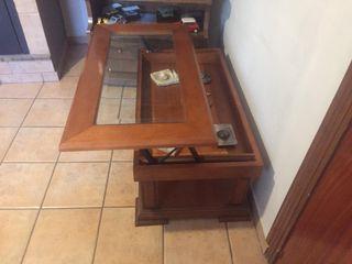 Mesa de madera maciza con cristal