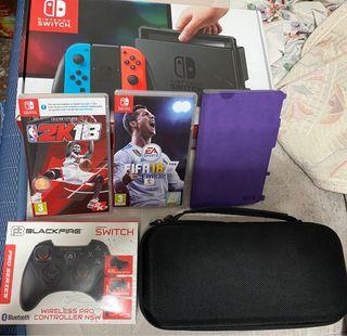 Nintendo switch + 2 juegos + accesorios