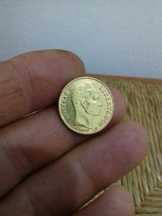 moneda de oro 20 bolivar 1905 original