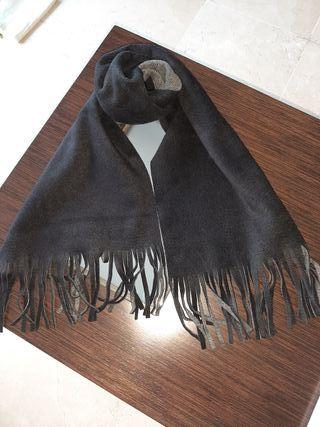 bufanda reversible negro-gris
