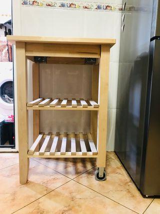 Mesa auxiliar de madera con ruedas ikea