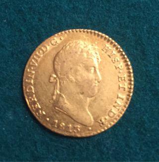 Ferdin VII 1813 Ceca Cádiz moneda Oro 2 Escudos