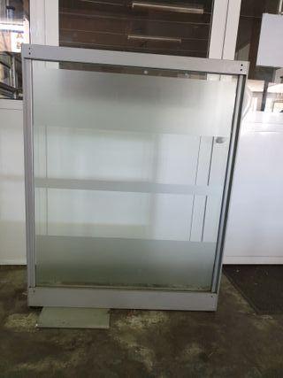 Mampara separadora anti-contagios aluminio mate