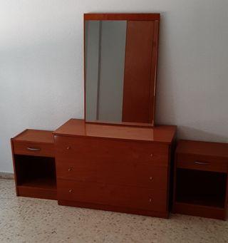 conjunto muebles cómoda + espejo + 2 mesitas noche