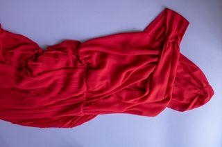 Vestido Largo Escote Cruzado Rojo