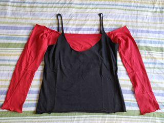 Camiseta negra y roja
