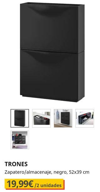TRONES Zapatero / Almacenaje negro 52 x 39 cm