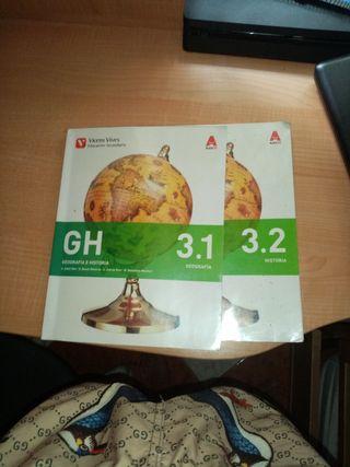 Libros de Geografía e historia están los 2 tomos