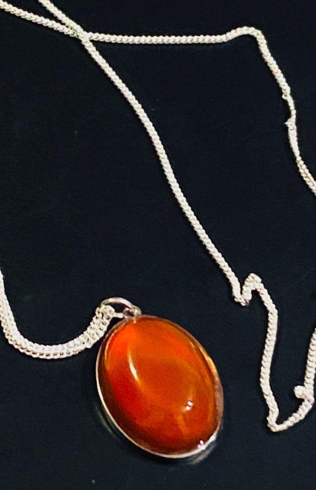 Conjunto cabujon de cornalina+ cadena en plata ley