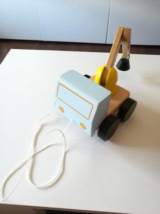 Grúa de madera juguete niños